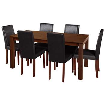 Argos Home - Ashdon Solid Wood Table & 6 Chairs - Black + Walnut Stain