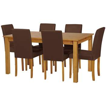 Argos Home - Ashdon Solid Wood Table & 6 Chairs - Chocolate + Oak Stain