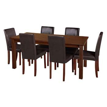 Argos Home - Ashdon Solid Wood Table & 6 Chairs - Chocolate + Walnut Stain