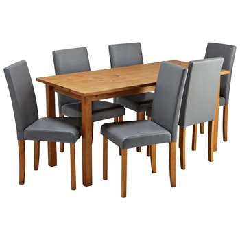 Argos Home Ashdon Solid Wood Table & 6 Mid Back Chairs- Grey
