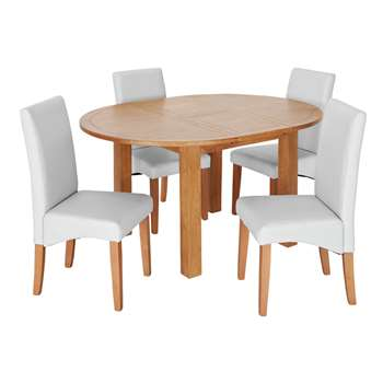 Argos Home Ashwell Extendable Dining Table & 4 Chairs - Grey