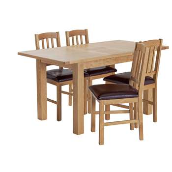 Argos Home Ashwell Extendable Oak Veneer Table & 4 Chairs