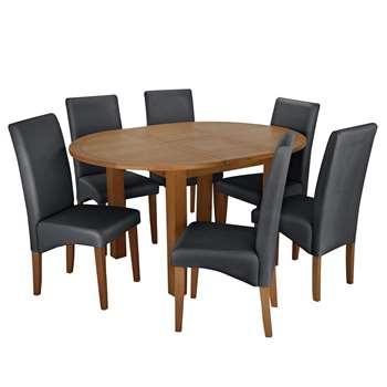 Argos Home Ashwell Extendable Oval Table & 6 Chairs - Black