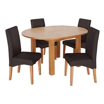 Argos Home Ashwell Extendable Table & 4 Chairs - Chocolate