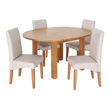 Argos Home Ashwell Extendable Table & 4 Chairs - Cream