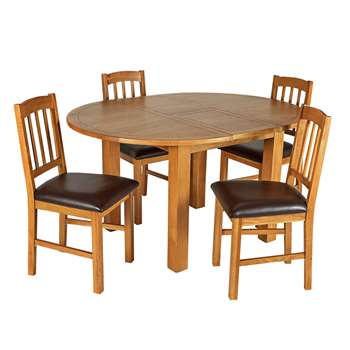 Argos Home Ashwell Extendable Table & 4 Chairs - Oak Veneer