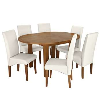 Argos Home Ashwell Extendable Table & 6 Chairs - Cream