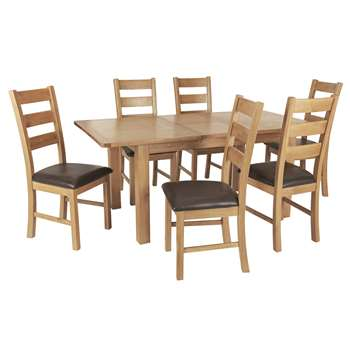 Argos Home Ashwell Extendable Table & 6 Farmhouse Chairs