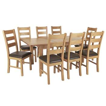 Argos Home Ashwell Extendable Table & 8 Farmhouse Chairs