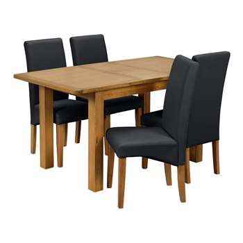 Argos Home Ashwell Extendable Table and 4 Chairs - Black