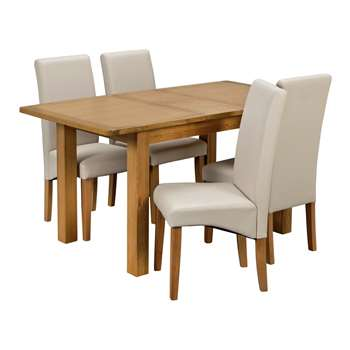 Argos Home Ashwell Extendable Table and 4 Chairs - Cream