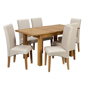 Argos Home Ashwell Extendable Table and 6 Chairs - Cream