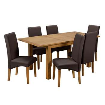 Argos Home Ashwell Extendable XL Table & 6 Chairs - Chocolate
