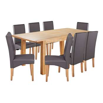 Argos Home Ashwell Extendable XL Table & 8 Chairs - Charcoal