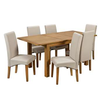 Argos Home Ashwell Extendable XL Table and 6 Chairs - Cream