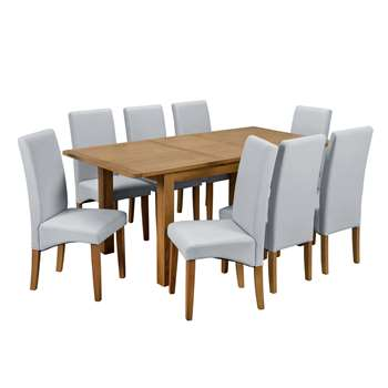 Argos Home Ashwell Extendable XL Table and 8 Chairs - Grey