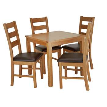 Argos Home Ashwell Table & 4 Farmhouse Chairs - Oak Veneer