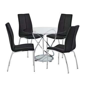 Argos Home Atom Round Glass Table & 4 Chairs - Black