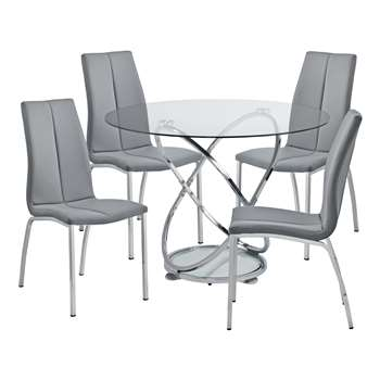 Argos Home Atom Round Glass Table & 4 Chairs - Grey