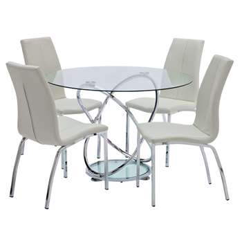 Argos Home Atom Round Glass Table & 4 Chairs - White