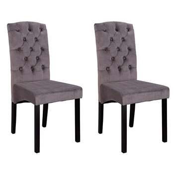 Argos Home Aurelia Pair of Velvet Dining Chairs - Charcoal (H95 x W44 x D54.5cm)