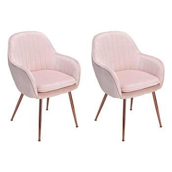 Argos Home Bella Pair of Velvet Dining Chairs - Blush (H83 x W57 x D55cm)