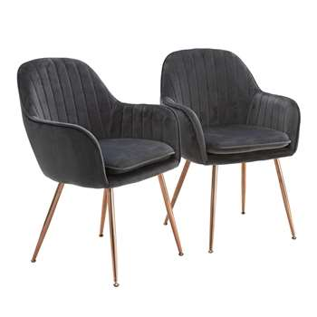 Argos Home Bella Pair of Velvet Dining Chairs - Charcoal (H83 x W57 x D55cm)