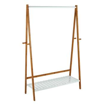 Argos Home Belvoir Clothes Rail with Shelf - Bamboo & White (H149 x W95cm)