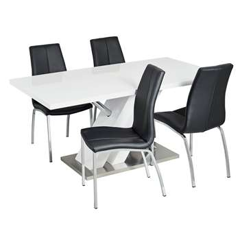 Argos Home Belvoir Pedestal Table and 4 Chairs - Black