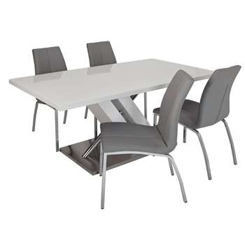 Argos Home Belvoir Pedestal Table and 4 Chairs - Grey