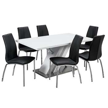 Argos Home Belvoir Pedestal Table and 6 Chairs - Black