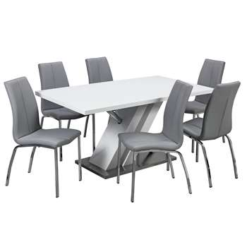 Argos Home Belvoir Pedestal Table and 6 Chairs - Grey