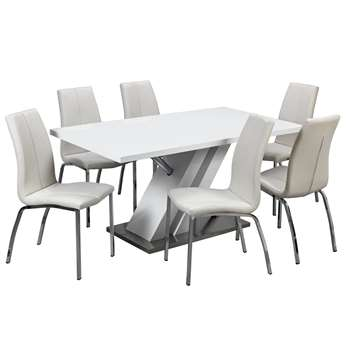 Argos Home Belvoir Pedestal Table and 6 Chairs - White