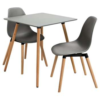 Argos Home Berlin Square Dining Table and 2 Chairs - Grey