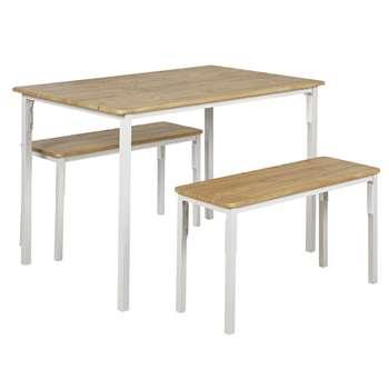 Argos Home Bolitzo Table & Bench Set - Oak & White (H76 x W110 x D70cm)