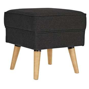 Argos Home Callie Fabric Footstool - Charcoal (H46 x W45 x D45cm)