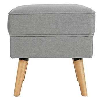 Argos Home Callie Fabric Footstool - Light Grey (H46 x W45 x D45cm)