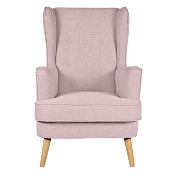 Argos Home Callie Fabric Wingback Chair - Blush Pink (H107 x W73 x D96cm)