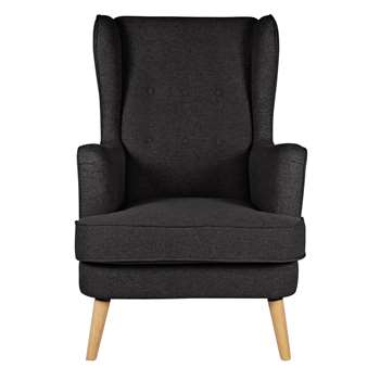 Argos Home Callie Fabric Wingback Chair - Charcoal (H107 x W73 x D96cm)