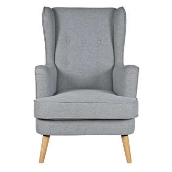 Argos Home Callie Fabric Wingback Chair - Light Grey (H107 x W73 x D96cm)