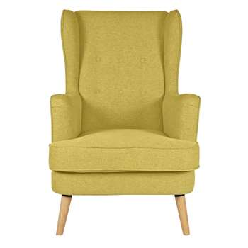 Argos Home Callie Fabric Wingback Chair - Mustard Yellow (H107 x W73 x D96cm)
