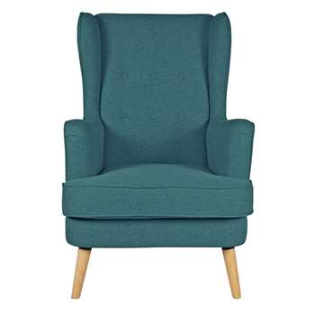 Argos Home Callie Fabric Wingback Chair - Teal (H107 x W73 x D96cm)