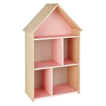 Argos Home Camden Pink & Acacia House Bookcase (H99.8 x W58.5 x D32.2cm)