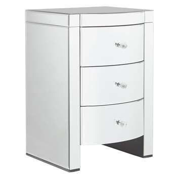 Argos Home Canzano 3 Drawer Bedside Cabinet - Mirrored (H66 x W45 x D41cm)