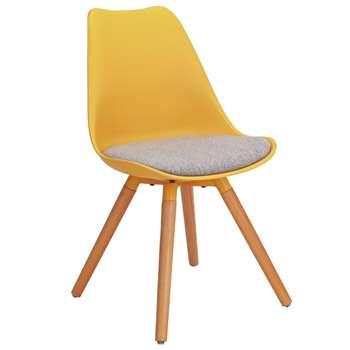Argos Home Charlie Fabric Dining Chair - Mustard & Grey (H81 x W47 x D52cm)