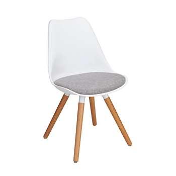 Argos Home Charlie Fabric Dining Chair - White & Grey (H81 x W47 x D52cm)