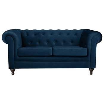 Argos Home Chesterfield 2 Seater Velvet Sofa - Blue (H78 x W179 x D94cm)