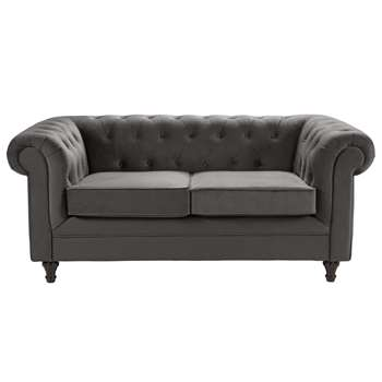 Argos Home Chesterfield 2 Seater Velvet Sofa - Charcoal (H78 x W179 x D94cm)
