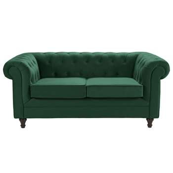 Argos Home Chesterfield 2 Seater Velvet Sofa - Green (H78 x W179 x D94cm)