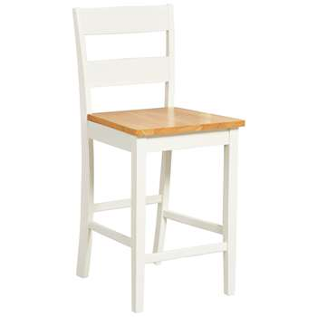 Argos Home Chicago Bar Stool - Oak and Cream (H95 x W41.5 x D48cm)